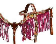 Showman Pony / Small Horse Size Pink Fringe Headstall Breast Collar Set! TACK!