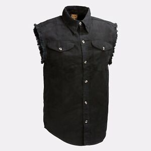 Milwaukee Leather Men's Black Lightweight Sleeveless Denim Shirt   **DM1002