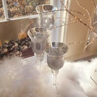 Grand Mercury Glass Votive Tall  Candle Holders Set of 3 Silver 0997RM