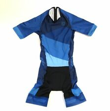 Medium Men's Verge Short Sleeve Speed Triathlon Suit Rear Zipper Blue CLOSEOUT