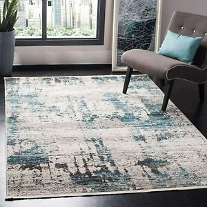 SHIVAN ABSTRACT With Fringe Area Rug,  in Ivory Navy BLUE, 120 x 180cm Safavieh