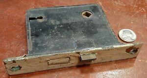 Vintage Antique Cast Iron Door Knob Lock, with Skeleton Key opening, unrestored