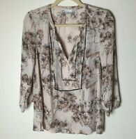 Daniel Rainn DR2 Women's Top Size Small Tie Neck Floral 3/4 Sleeves Casual