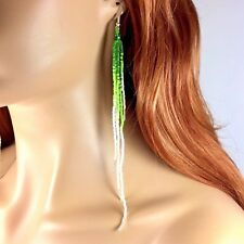 NEW WOMEN HANDCRAFTED PARTY BEADED EXTRA LONG FASHION HOOK EARRINGS E58/5