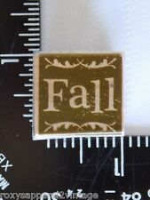Fall Wood Mounted Rubber Stamp Gently Used 1 inch square