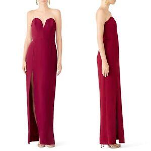 Amanda Uprichard Fuchsia Sweetheart Gown L High Slit Strapless Evening Dress