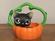 Littlest Pet Shop LPS #994 Black Cat blue eyes with Pumpkin Carrier Preowned