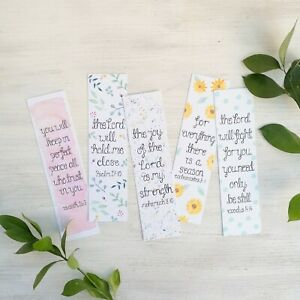 Bible Verse Bookmarks Set Of 5 - Christian Bookmarks - Christian Gift - Bookmark