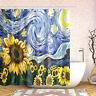Bathroom Shower Curtain Sunflower Oil Painting Art Decor Bath Curtains +12 hooks
