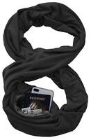Unisex Warm Fashion Infinity Scarf with Zipper Pocket Theftproof Cotton Blend