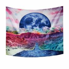 Rainbow Tapestry Psychedelic Art Trippy Geometric Moon Mountain Bedspread