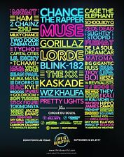 LIFE IS BEAUTIFUL 2017 LAS VEGAS CONCERT POSTER:Chance,Blink182,Muse,Lorde,TheXX