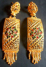 22K South Indian Bright Gold Plated Nice Bali Jhumka Earrings Set c