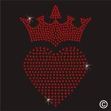 HEART CROWN Rhinestone Diamante Transfer IronOn Hotfix Gem TShirt Motif Applique