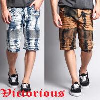 Victorious Men's Acid Washed Moto Style Biker Denim Jean Short Pants DS2006-H16B