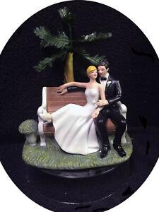 SALE Park Palm tree Wedding Cake topper Groom top Informal Outside Centerpiece