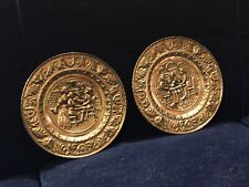 Pair Of Vintage LOMBARD ENGLAND Embossed Brass Wall Art/Tray Beer/Cider/Ale/Pub