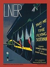 Flying Scotsman Treno a vapore, Art Deco Retrò Vintage ferroviario,