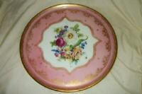 ANTIQUE FRENCH HP PORCELAIN CAKE PLATE FLORAL GILT LACEY DESIGNS BB STUNNING