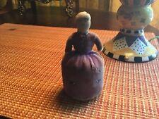 Vintage Sewing Pin Cushion Lady Purple Velvet Bead Work