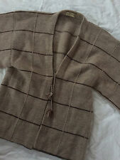 Vintage Chinese 100% Cashmere Cardigan Sweater Large Sleeves Beige Brown