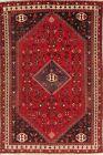 AMAZING Geometric Tribal RED Qashqai Area Rug Hand-Knotted Oriental WOOL 7'x10'