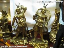 Chinese Bronze 24K Gold Door deity Deva kings Heng Ha Two warrior Statue Pai