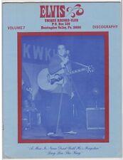 ELVIS PRESLEY 1978 UNIQUE RECORD CLUB VOLUME 7 DISCOGRAPHY MAGAZINE