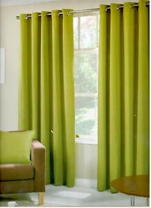 Lime Green/Sage  Basket Weave Rich Textured Design Pair Eyelet Curtains Lined