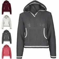 Ladies Cricket Pullover Hoodie Chunky Cable Womens Knitted Hoody Crop Jumper Top