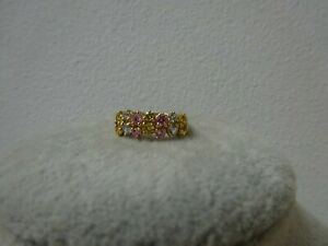 QVC 14ct Yellow Gold Ring Size K Pink/Blue/Green Gemstones