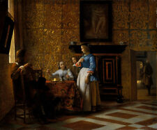 Leisure Time in an Elegant Setting by Pieter de Hooch Old Masters 13x15 Print
