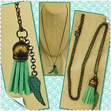 """BRASS ANGEL WING ESSENTIAL OIL TASSEL DIFFUSER NECKLACE AROMATHERAPY OILS 24"""""""