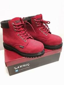 GIRLS BOYS SAFETY WORK BOOTS LACE UP STEEL TOE CAP