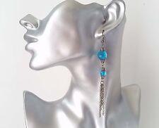 "Gorgeous 4"" long black hematite chain tassel & blue bead drop earrings - NEW"