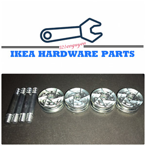 4 IKEA CAM LOCK WHEEL NUTS & Cam Lock Screw for MALM / BRIMNES Bed Frame 114670