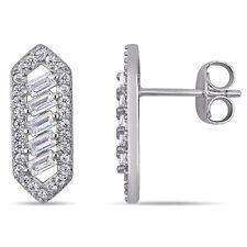 Amour Sterling Silver Multi-Cut Cubic Zirconia Geometric Drop Earrings