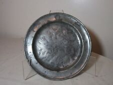 rare antique 17th century M&T engraved hand forged pewter dinner plate dish bowl