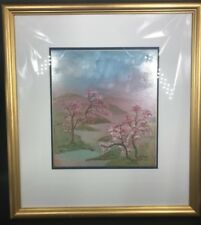 """Cherry Blossoms on Hill by Jamaliah Morais Ink & Watercolors 19"""" x 17.5 """""""