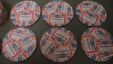 NOS 6 Budweiser Beer Label Metal Coasters with cork bottom comes in a tin to sto