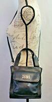 Vintage Fossil Black Pebble Leather 1954 Small Shoulder Bag Handbag Cross Body