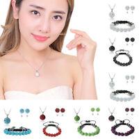Womens Fashion Rhinestone Bead Jewelry Set Earrings Bracelet Pendant Necklace