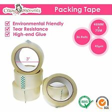 36 ROLLS PACKING TAPE CLEAR PACKAGING STICKY SHIPPING BOX SEALING CARTON 48MM NE