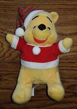 Winnie The Pooh Christmas Stuffed Animal Plaid Santa Plush Toy