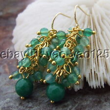 S122915 Faceted Green Agate Gold  Plated Hook Earrings