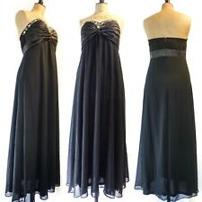 Ever-Pretty Maxi Dress Prom Gown Strapless Black Embellished Floaty Formal UK 14
