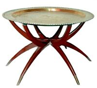 Mid Century Brass Coffee Table - Round Tray Etchings - Wood Spider Style Base