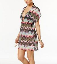 Miken Chiffon Semi Sheer Zig Zag Beach Swim Cover Up Dress Black Pink NWT Medium