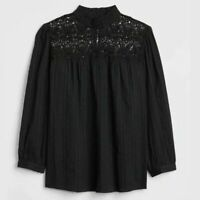 Gap Women's Lace Yoke Blouse Size S Mock Neck 3/4 Sleeve Keyhole Back Black Boho