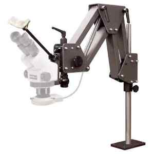 MEIJI EMZ-5 MICROSCOPE COMPLETE SET W/ GRS ACROBAT STAND 003-630 & LED LIGHT